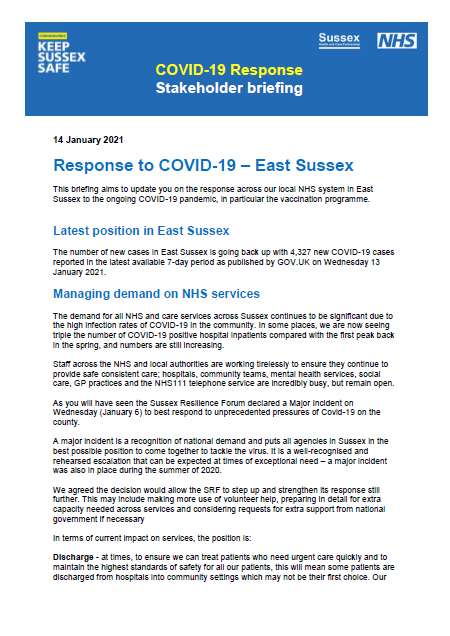 Covid 19 Response stakeholder briefing 140121