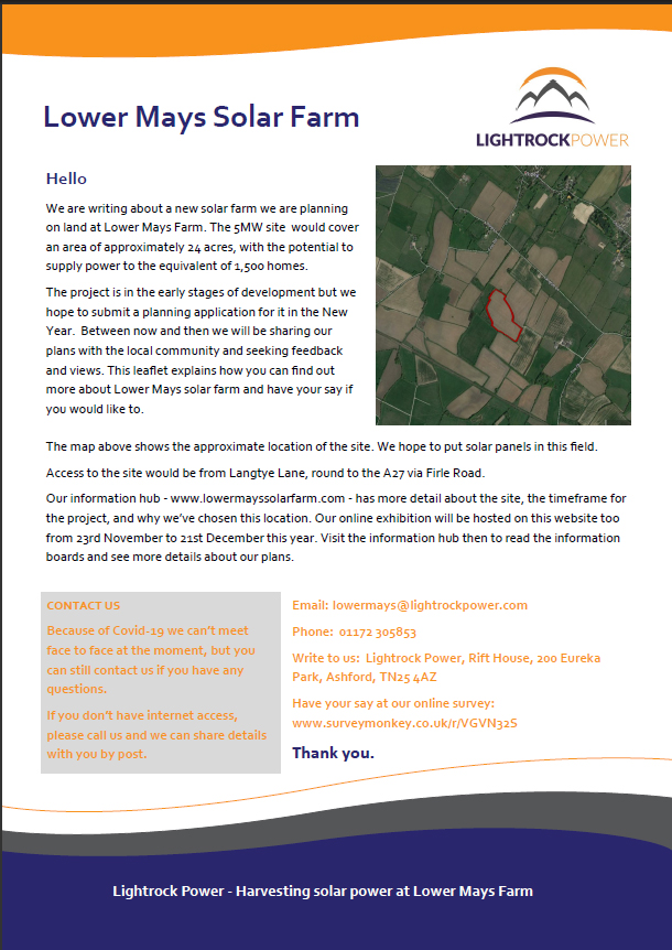 Link to the pdf Lower Mays solar Farm